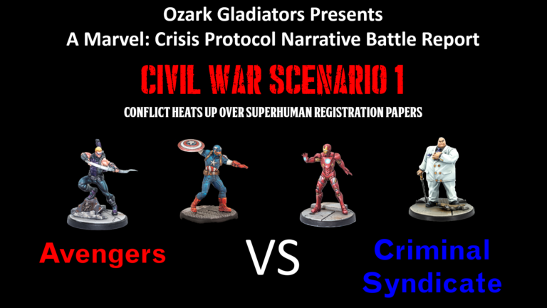 Ozark Gladiators presents S1E20 – Civil War Scenario 1 (Marvel: Crisis Protocol Narrative Battle Report) Avengers Vs Criminal Syndicate.